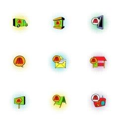 Ads icons set pop-art style vector