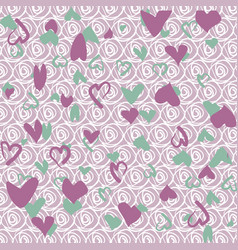 background with green and lilac hearts vector image