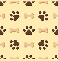 dog or cat paw dog footprint flat seamless pattern vector image vector image
