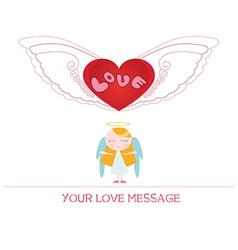cartoon angel girl in love vector image vector image