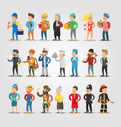 cartoon people professions set with doctor vector image vector image