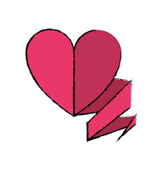 drawing love heart with ribbon decoration vector image
