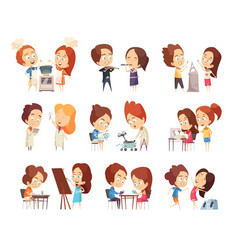 Kids classes decorative icons set vector