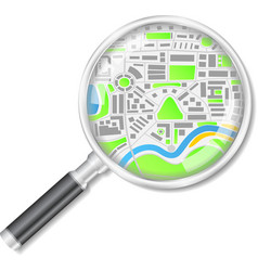 Magnifying glass with map vector image vector image