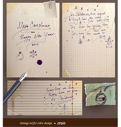 Vintage Christmas Note Set vector image
