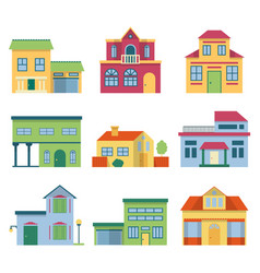 colorful different houses with modern facade vector image