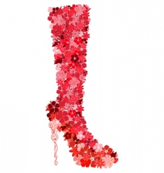 female boot consisting of flowers vector image
