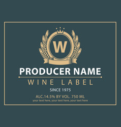label for wine with coat of arms and crown vector image vector image