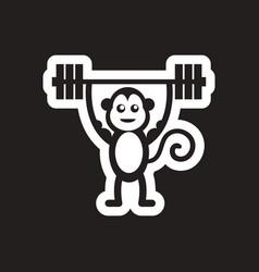 Style black and white icon monkey athlete vector