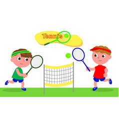 young cartoon tennis player vector image vector image