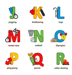 alphabet sport from J to R vector image