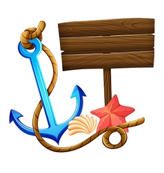 An empty signboard with an anchor and a rope vector image vector image