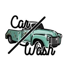 color vintage car wash emblem vector image