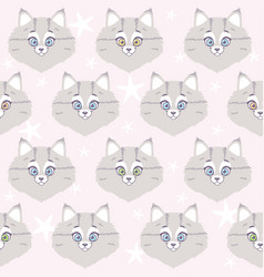 cute cat seamless vector image vector image