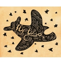cute hand drawn airplane vector image vector image