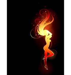 Fiery girl vector image