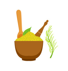 Green spices in a wooden bow colorful cartoon vector
