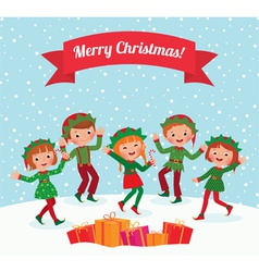Merry Christmas elves vector image vector image