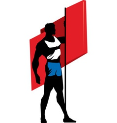 Sportsman with flag vector image vector image