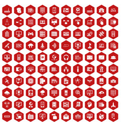 100 database and cloud icons hexagon red vector image