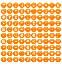 100 tension icons set orange vector