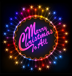 a christmas card with a luminous round frame in vector image