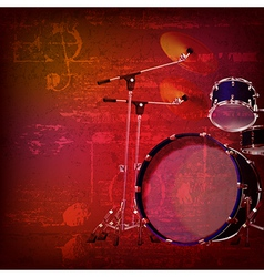 Abstract red sound grunge background with drum kit vector