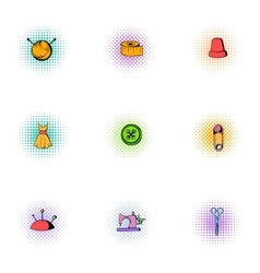Accessories for sewing workshop icons set vector image