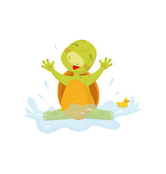 adorable sea turtle splashing in water with rubber vector image