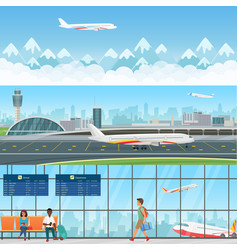 Airport detailed horizontal banners vector