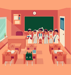 arabian kids group stands in classroom with school vector image