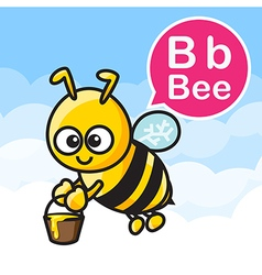 B Bee cartoon color and alphabet for children to vector image