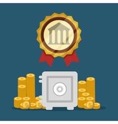 bank safe box pile coins golden emblem vector image