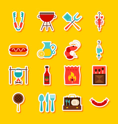 bbq party stickers vector image