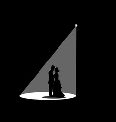 black silhouette of a married couple vector image