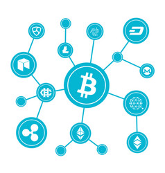blockchain blocks with cryptocurrency symbols vector image