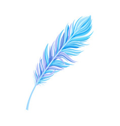 Blue bird feather with nib as avian plumage vector