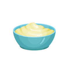 Blue ceramic dip bowl filled with creamy cheese vector