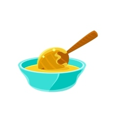 Bowl Of Honey WIth Honey Dipper Natural Honey vector