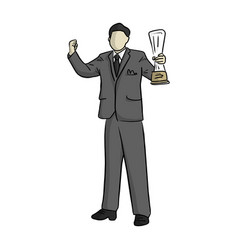 business man raising his trophy and a fist vector image