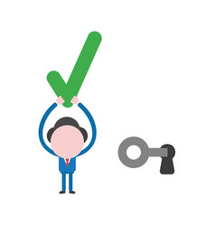 Businessman character unlock keyhole with key and vector