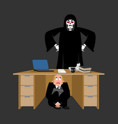 Businessman scared under table of grim reaper vector