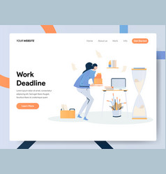 Businesswoman working on deadline concept modern vector