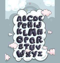 cartoon bubble alphabet vector image