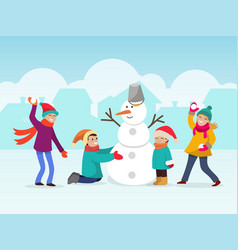 children making snowman two vector image