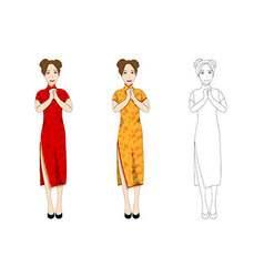 Chinese Woman Red Qipao Dress vector