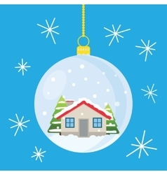 Christmas ball with house and trees inside vector image