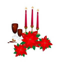 Christmas Candles with Red Poinsettia Flowers vector image
