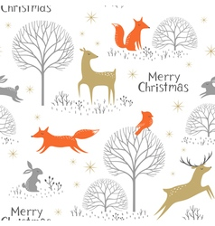 Christmas woodland pattern vector