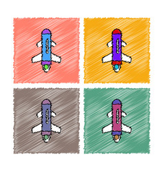 Collection of flat shading style icons flying vector